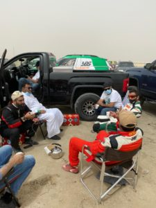 Competitors waiting in vain for the weather to clear in the Eastern Province on Friday.