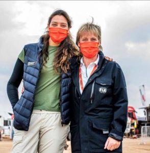 Dania Akeel with the FIA's Jutta Kleinschmidt.